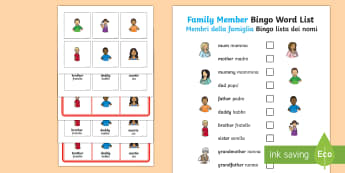 Family Members Bingo English/Italian - Ourselves, All about me, family, Ks1, Y1, Year 1, EYFS, Reception, Growing, growth,