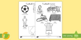 Hoja de colorear: Vocabulario - Football - Football World Cup Words Colouring Sheet - football, colouring, colering, colourng, couloring, socce