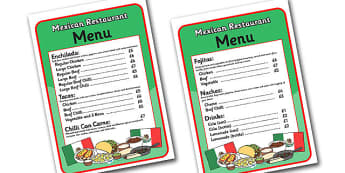 Mexican Restaurant Role Play Menu - mexican, restaurant, mexican restaurant, role play, menu, role play menu, menu for role play, mexican menu