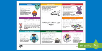 Space CfE Homework Grid - homework, homework choice, homework grid, space, ,Scottish