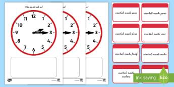 Uhrzeiten: viertel nach Memorykarten - Uhr, Uhrzeit, Stunden, Minuten, Viertelstunde, Mathe, Sachkunde,,German