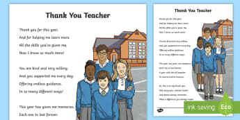 KS2 Thank You Teacher Poem - end of year, appreciation, card, letter, Thank