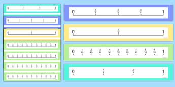 Fractions Number Line Pack - fractions, number line, pack, number, line, maths, numeracy