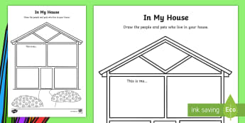EYFS In My House Activity Sheet - first week back, back to school, foundation stage, family unit,All about me, Worksheet