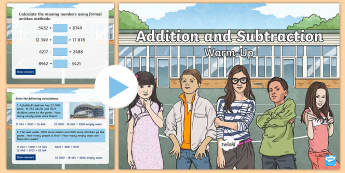 Year 5 Addition and Subtraction Maths Warm-Up PowerPoint - KS2 Maths warm up powerpoints, addition, subtraction, Y5, year 5, UKS2, problem solvingAdd and subtr