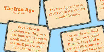 Amazing Iron Age Display Fact Cards - iron age, facts