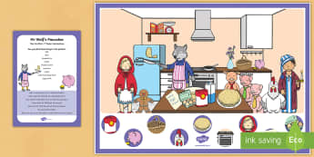 Mr Wolf's Pancakes Can You Find...? Poster and Prompt Card Pack - Mr Wolf's Pancakes, pancake day, Jan Fearnley,