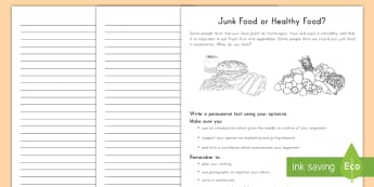 Persuasive Writing Activity - writing, English, persuasive, activity,health eating