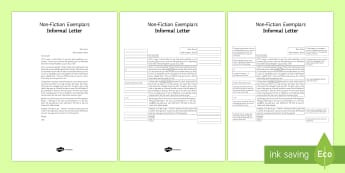Informal Letter Exemplar Resource Pack - General Secondary English Resources, non-fiction texts, exemplars, informal letter.