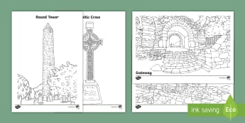 Glendalough Colouring Pages - Ireland, The Land of Saints and Scholars,early christian Ireland,Irish saints, monastic Ireland, Gle