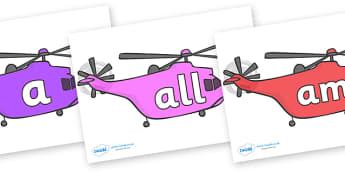 Foundation Stage 2 Keywords on Helicopters - FS2, CLL, keywords, Communication language and literacy,  Display, Key words, high frequency words, foundation stage literacy, DfES Letters and Sounds, Letters and Sounds, spelling