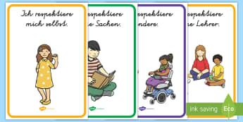 Respekt im Klassenraum Poster für die Klassenraumgestaltung - Klassenzimmer, Regeln, Verhaltensregeln, respektieren, wichtig, ,German