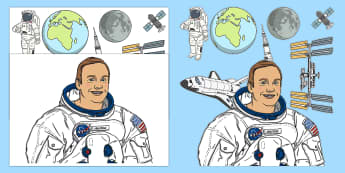 Neil Armstrong Cut-Outs - Significant people, moon landing, neil armstrong, astronauts, NASA, important people, explorers, fam
