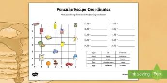 Pancake Recipe Coordinates Activity Sheet - KS2, Maths, coordinaes, pancake day recipe, pancake day coordinates, pancakes,