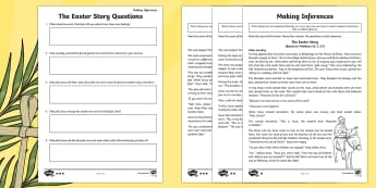 KS2 Easter Story Inference Differentiated Go Respond Activity Sheets - UKS2, LKS2, Key Stage Two, Key Stage 2, Easter, Easter Story, Jesus, Last Supper, Jerusalem, donkey,