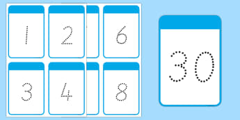 Number Digit Dots 0-30 Cards - counting to 30, number formation, handwriting numbers, writing numbers, numerals, flash cards, maths