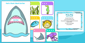 Feed a Shark Posting Busy Bag Prompt Card and Resource Pack