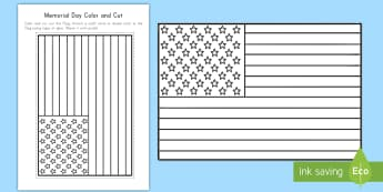 Memorial Day Flag Color and Cut Activity Sheet - Memorial Day worksheet, Memorial Day activity, Memorial coloring sheet, U.S. flag coloring sheet, U.S. flag ac