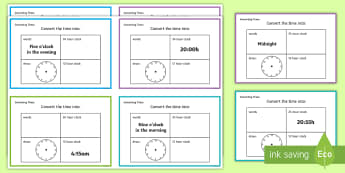 Converting Time Challenge Cards - time, clocks, hours, numeracy