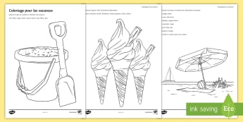 Holiday Colouring Pages French - colours, KS3, French, mindfulness, pleine conscience,French