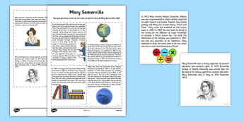 Scottish Significant Individuals Mary Somerville Sequencing Activity Sheet -CfE, significant individuals, women, science, maths, astronomy, worksheet