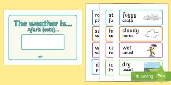 Weather Display Set Romanian English/Romanian - Weather Display - weather, today, today's weather, calendar, display, sign, poster, waether, weathe