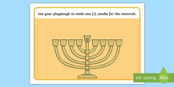 Hanukkah Playdough Mats - Menorah, Jewish Holiday, Fine Motor Skills, Center Activity, Math Skills, Math Playdough Mats