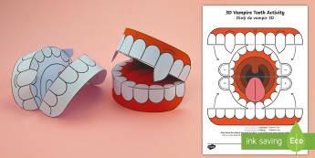 Simple 3D Halloween Vampire Teeth Activity Paper Craft English/Romanian - halloween, teeth, vampire, EAL, romanian, translation