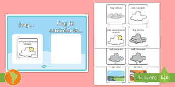 Póster: Las estaciones y el tiempo  - tiempo, clima, hace sol, hace calor, esta nublado, esta nevando, está nevando, español, spanish,
