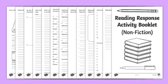 Reading Book Response Activity Booklet - reading, book, activity, read and respond, reeding, homework, fiction, non-fiction,