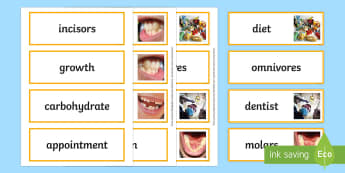 Teeth and Nutrition Word Cards - teeth, nutrition, healthy living, teeth word cards, nutrition word cards, health word cards, healthy eating word cards