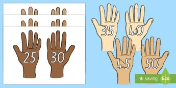 Counting in 5s On Hands Cut-Outs - New Zealand, maths, 5s, skip counting, Years 1-3, hands, display, display posters
