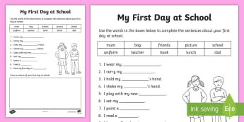 My First Day at School Cloze Activity - Comprehension, Guided reading, reading strategies, pre-primary reading, english curriculum,Australia