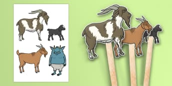 The Three Billy Goats Gruff Stick Puppets - Three Billy Goats Gruff, stick puppet, traditional tales, tale, fairy tale, goat, billy goat, troll, sweet grass, bridge