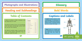 Text Features Display Posters - Table of Contents, Glossary, photograph, captions, labels, Bold Words