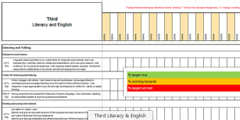 CfE Scottish Curriculum for Excellence Third Literacy and English Assessment Spreadsheet - CfE, planning, tracking, literacy, language, english, Third