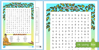 KS2 Bodhi Day Word Search - Buddhism, Buddha, Enlightenment, Buddhist, Meditate