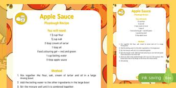 Apple Sauce Playdough Recipe