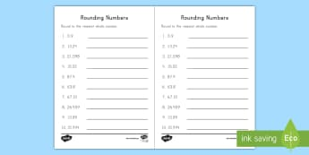 Rounding Decimals to the Nearest Whole Activity Sheet - Rounding, Decimals, tenths, hundredths, thousandths, whole, 5th grade, place Value, worksheet