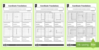 Coordinate Translations Differentiated Worksheet / Activity Sheets - Position, direction, coordinates, translations.