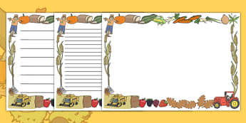 Harvest Full Page Borders (Landscape) - page border, border, frame, writing frame, harvest page borders, harvest landscape page borders, harvest writing frames, writing template, writing aid, writing, A4 page, page edge, writing activities, lined pag