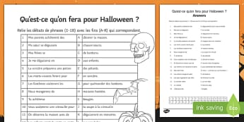 Halloween Simple Future Tense Match Up Activity Sheet, worksheet