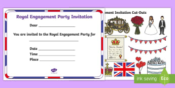 EYFS Royal Engagement Party Cut and Stick Invitation Activity - Royalty, Prince Harry, Meghan, Engaged, Marry
