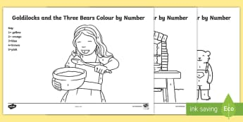 Goldilocks and the Three Bears Colour by Number - goldylocks and the three bears, 3 bears,  colour, numbers, three, threebears, colourby numbers, colo