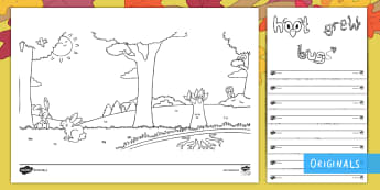 Little Acorns Colouring Pages - autumn, oak, tree, british trees, seasons, KS1, EYFS, colouring, colouring pages