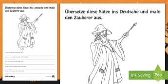 Wizard Translation Activity Sheet - Translation, New Curriculum. Year 7, Basic verbs, Adjective Endings, Physical Descriptions,German