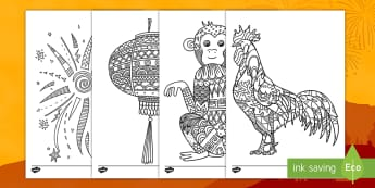 Chinese New Year Mindfulness Coloring Activity - Chinese New Year, coloring, dragons, holiday, activity, art