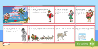 Christmas Multiplication and Division Challenge Cards - New Zealand Maths, multiplication, division, christmas, challenge cards, Years 4-6
