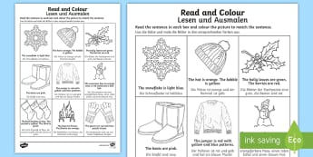 Winter Read and Colour Activity Sheet English/German - seasons, cold, reading, EAL, German, English-German,,German-translation