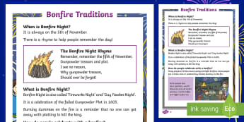 KS1 Bonfire Traditions Differentiated Fact File